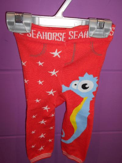 BABY TODDLER BOYS GIRLS SEA HORSE LEGGINGS (0-12 MONTHS)